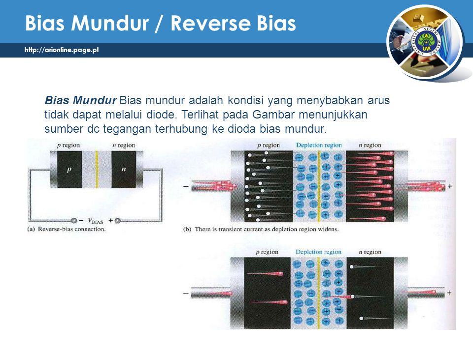 http://arionline.page.pl Bias Mundur / Reverse Bias Bias Mundur Bias mundur adalah kondisi yang menybabkan arus tidak dapat melalui diode. Terlihat pa