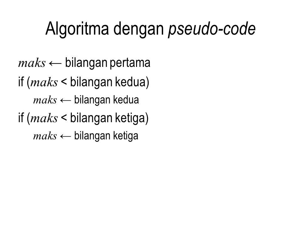 Algoritma dengan pseudo-code maks ← bilangan pertama if ( maks < bilangan kedua) maks ← bilangan kedua if ( maks < bilangan ketiga) maks ← bilangan ke