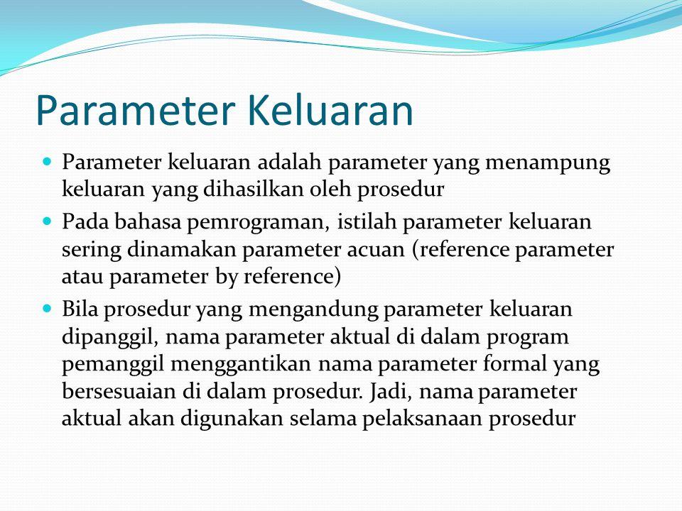 Parameter Keluaran Parameter keluaran adalah parameter yang menampung keluaran yang dihasilkan oleh prosedur Pada bahasa pemrograman, istilah parameter keluaran sering dinamakan parameter acuan (reference parameter atau parameter by reference) Bila prosedur yang mengandung parameter keluaran dipanggil, nama parameter aktual di dalam program pemanggil menggantikan nama parameter formal yang bersesuaian di dalam prosedur.