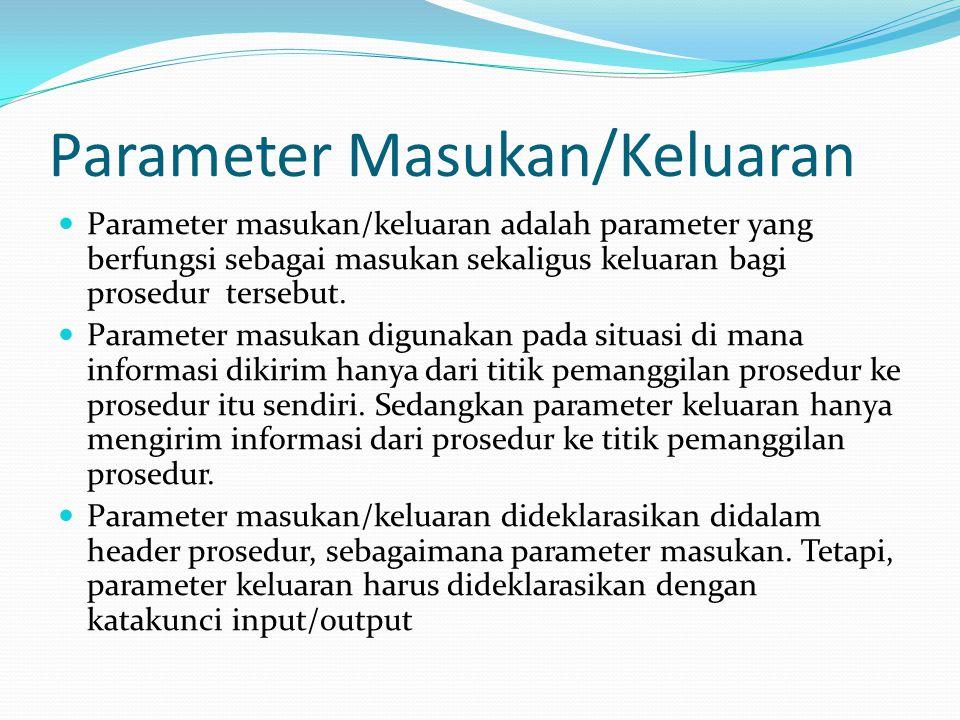 Parameter Masukan/Keluaran Parameter masukan/keluaran adalah parameter yang berfungsi sebagai masukan sekaligus keluaran bagi prosedur tersebut. Param