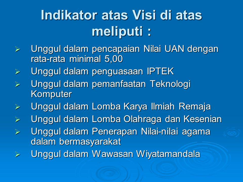 Indikator atas Visi di atas meliputi :  Unggul dalam pencapaian Nilai UAN dengan rata-rata minimal 5,00  Unggul dalam penguasaan IPTEK  Unggul dala