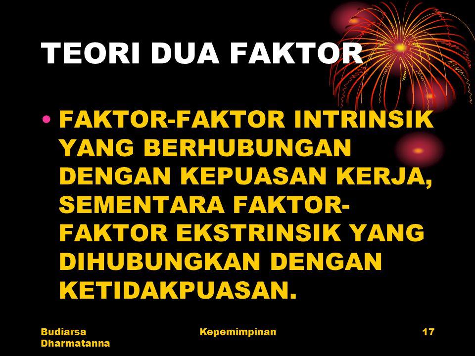 Budiarsa Dharmatanna Kepemimpinan17 TEORI DUA FAKTOR FAKTOR-FAKTOR INTRINSIK YANG BERHUBUNGAN DENGAN KEPUASAN KERJA, SEMENTARA FAKTOR- FAKTOR EKSTRINS