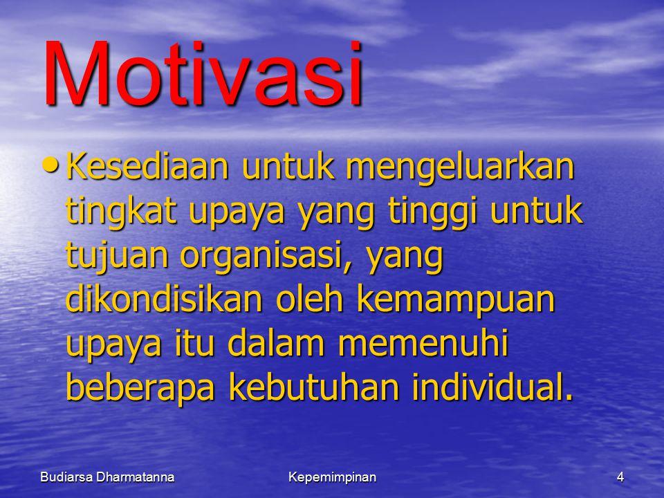 Budiarsa DharmatannaKepemimpinan4 Motivasi Kesediaan untuk mengeluarkan tingkat upaya yang tinggi untuk tujuan organisasi, yang dikondisikan oleh kemampuan upaya itu dalam memenuhi beberapa kebutuhan individual.
