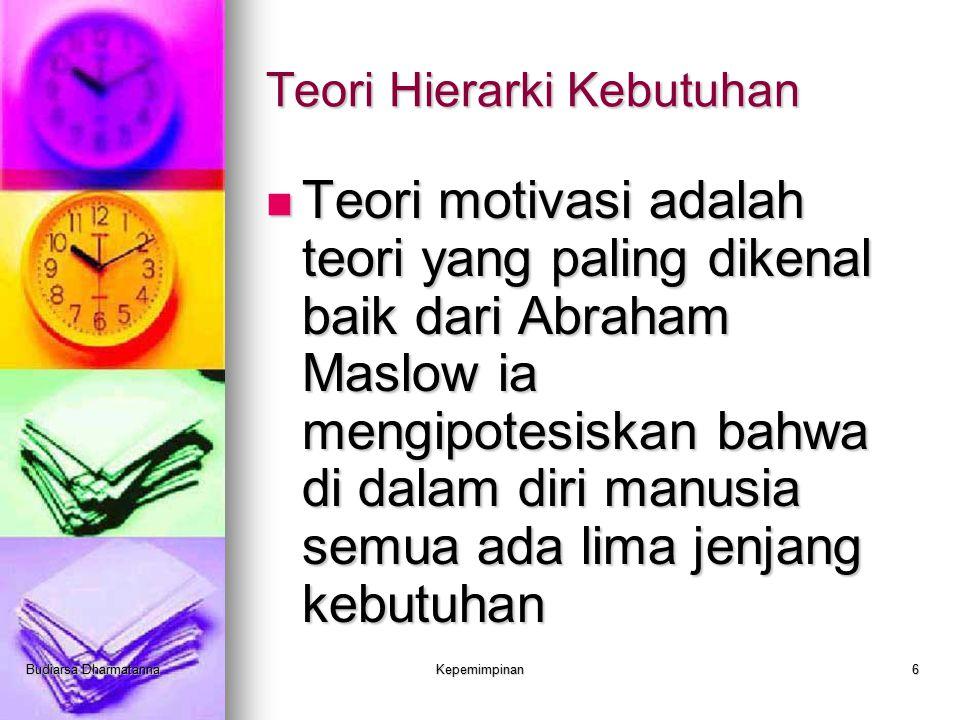 Budiarsa DharmatannaKepemimpinan6 Teori Hierarki Kebutuhan Teori motivasi adalah teori yang paling dikenal baik dari Abraham Maslow ia mengipotesiskan