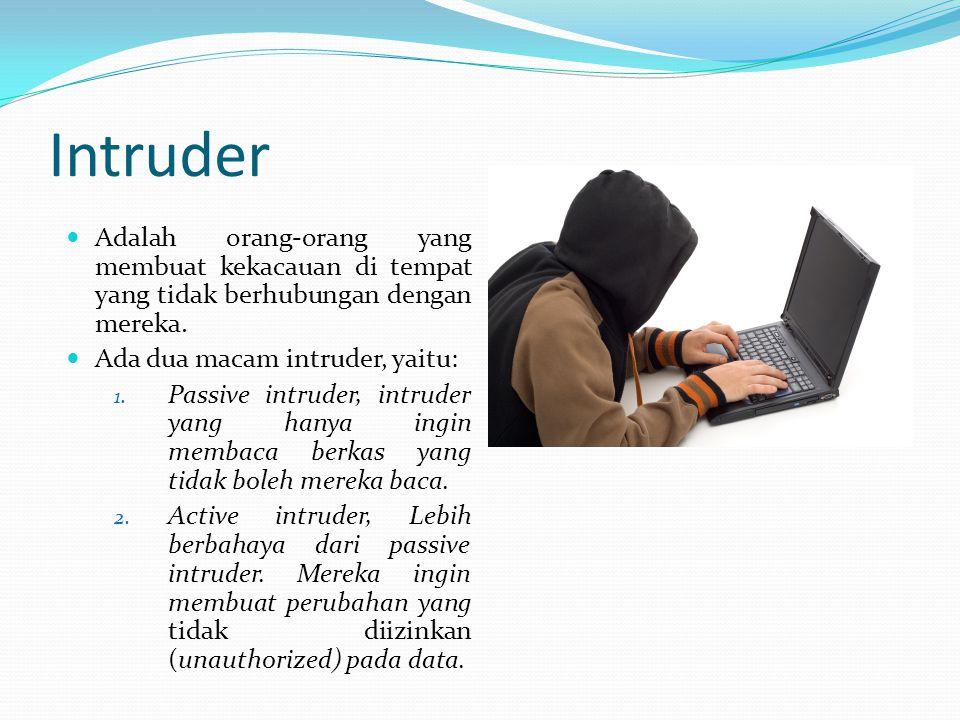 Intruder Adalah orang-orang yang membuat kekacauan di tempat yang tidak berhubungan dengan mereka. Ada dua macam intruder, yaitu: 1. Passive intruder,