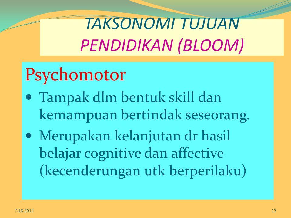 TAKSONOMI TUJUAN PENDIDIKAN (BLOOM) Psychomotor Tampak dlm bentuk skill dan kemampuan bertindak seseorang. Merupakan kelanjutan dr hasil belajar cogni