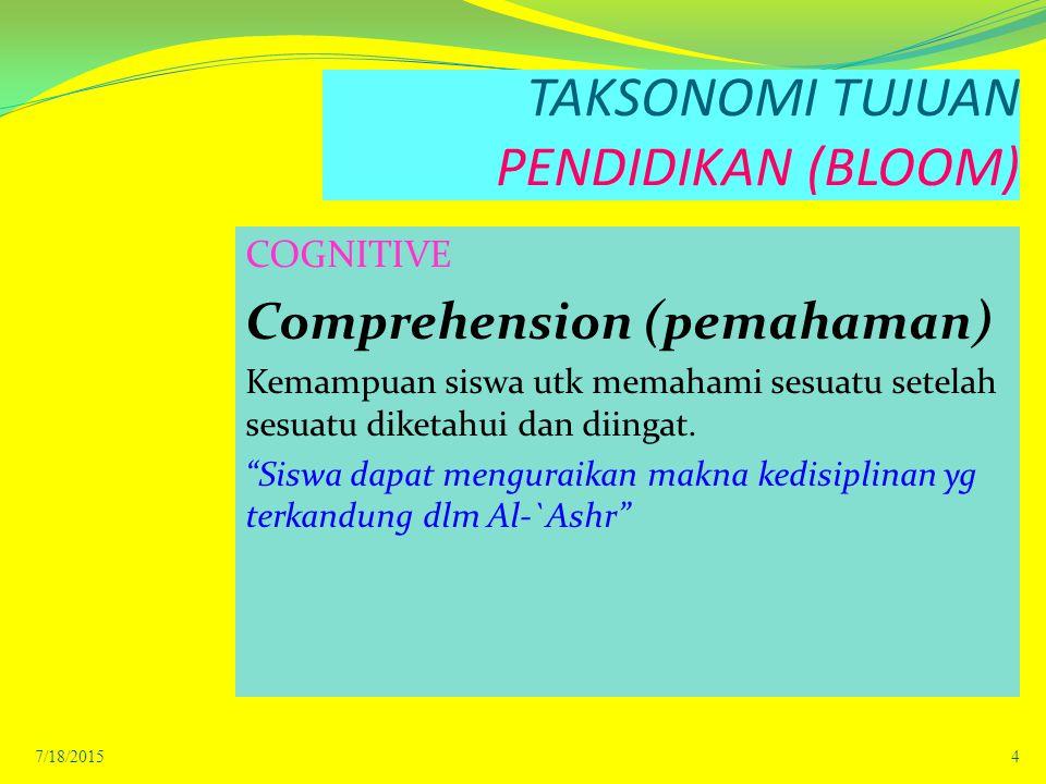 TAKSONOMI TUJUAN PENDIDIKAN (BLOOM) COGNITIVE Comprehension (pemahaman) Kemampuan siswa utk memahami sesuatu setelah sesuatu diketahui dan diingat.