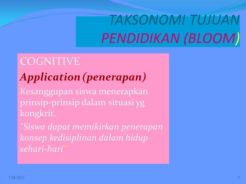 TAKSONOMI TUJUAN PENDIDIKAN (BLOOM) COGNITIVE Application (penerapan) Kesanggupan siswa menerapkan prinsip-prinsip dalam situasi yg kongkrit.