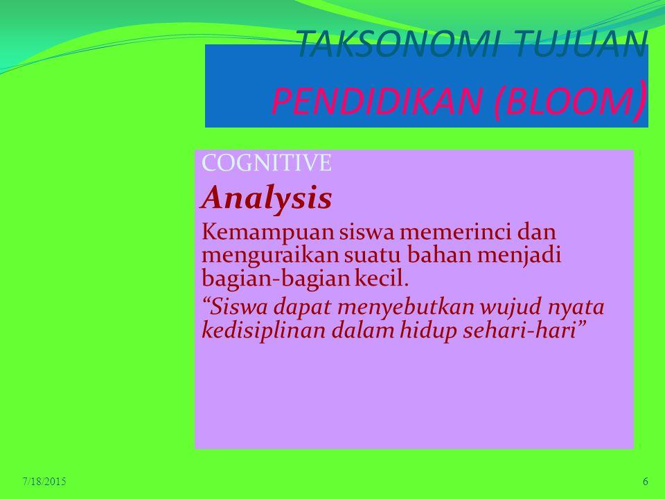 TAKSONOMI TUJUAN PENDIDIKAN (BLOOM ) COGNITIVE Analysis Kemampuan siswa memerinci dan menguraikan suatu bahan menjadi bagian-bagian kecil.