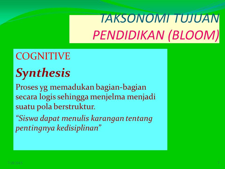 TAKSONOMI TUJUAN PENDIDIKAN (BLOOM) COGNITIVE Synthesis Proses yg memadukan bagian-bagian secara logis sehingga menjelma menjadi suatu pola berstruktur.