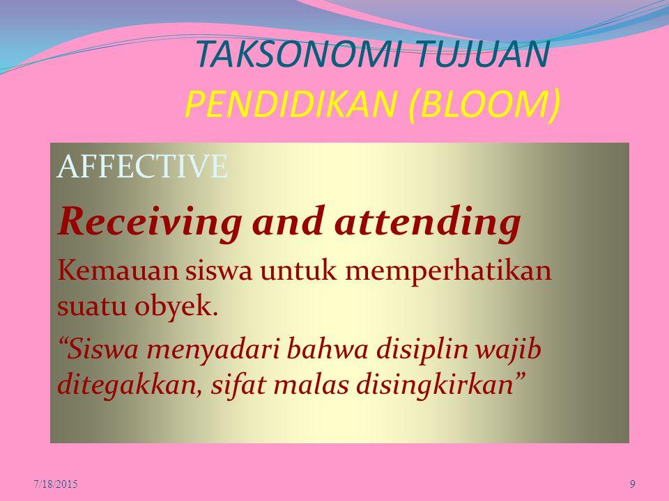TAKSONOMI TUJUAN PENDIDIKAN (BLOOM) AFFECTIVE Receiving and attending Kemauan siswa untuk memperhatikan suatu obyek.
