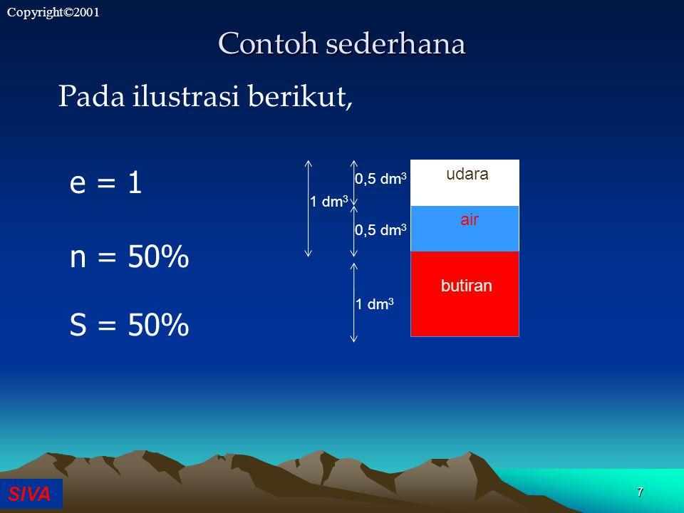 SIVA Copyright©2001 7 Contoh sederhana Pada ilustrasi berikut, e = 1 n = 50% S = 50% udara air butiran 1 dm 3 0,5 dm 3