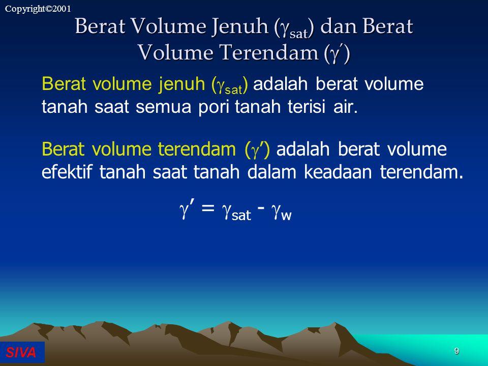 SIVA Copyright©2001 9 Berat Volume Jenuh (  sat ) dan Berat Volume Terendam (  ' ) Berat volume jenuh (  sat ) adalah berat volume tanah saat semua pori tanah terisi air.