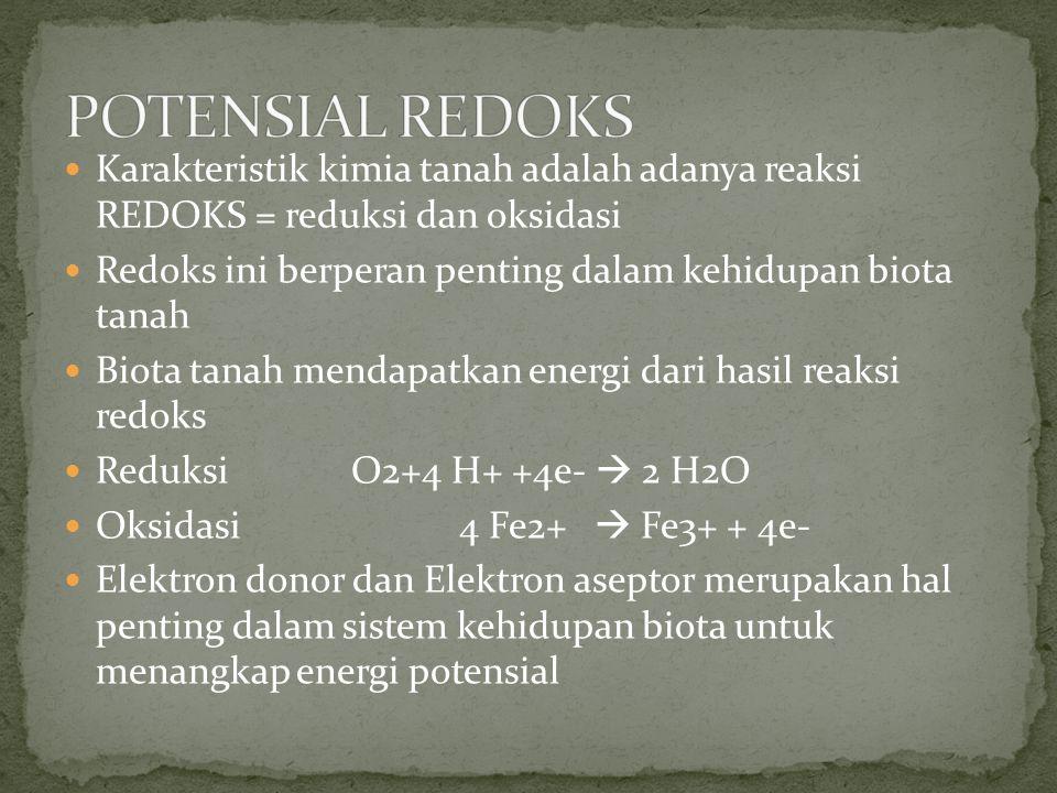 Karakteristik kimia tanah adalah adanya reaksi REDOKS = reduksi dan oksidasi Redoks ini berperan penting dalam kehidupan biota tanah Biota tanah menda