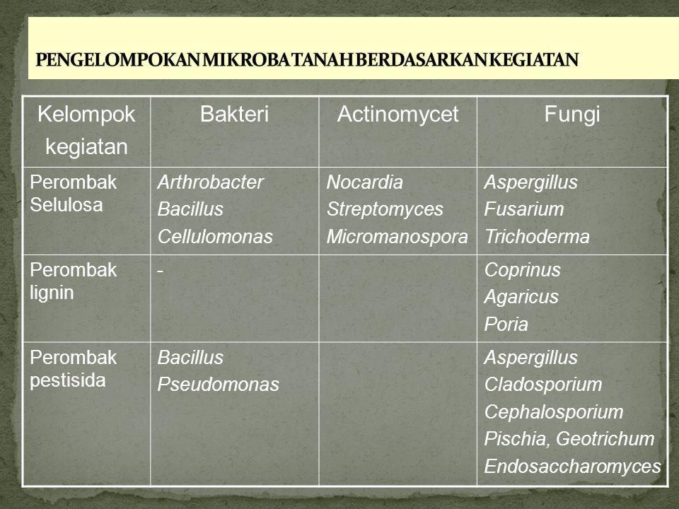 Kelompok kegiatan BakteriActinomycetFungi Perombak Selulosa Arthrobacter Bacillus Cellulomonas Nocardia Streptomyces Micromanospora Aspergillus Fusari