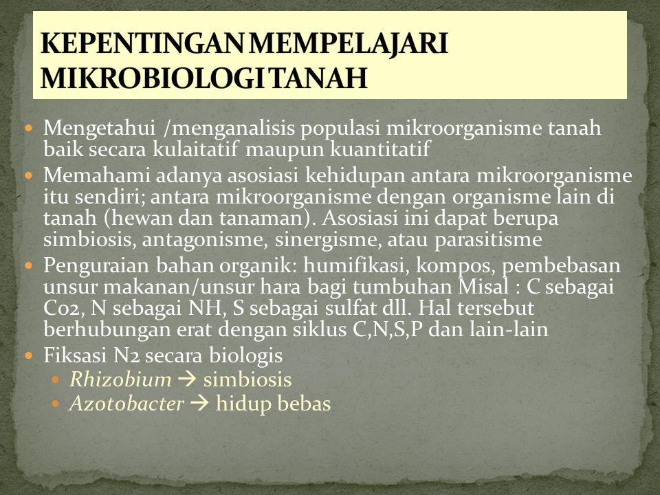 Mengetahui /menganalisis populasi mikroorganisme tanah baik secara kulaitatif maupun kuantitatif Memahami adanya asosiasi kehidupan antara mikroorgani