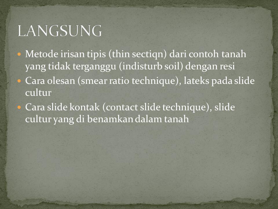 Metode irisan tipis (thin sectiqn) dari contoh tanah yang tidak terganggu (indisturb soil) dengan resi Cara olesan (smear ratio technique), lateks pad