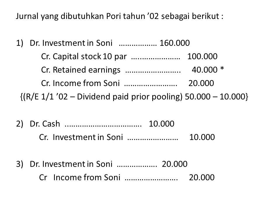 Jurnal yang dibutuhkan Pori tahun '02 sebagai berikut : 1) Dr. Investment in Soni ……………… 160.000 Cr. Capital stock 10 par …..……………… 100.000 Cr. Retain