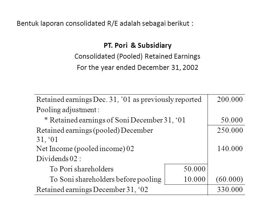 Bentuk laporan consolidated R/E adalah sebagai berikut : PT. Pori & Subsidiary Consolidated (Pooled) Retained Earnings For the year ended December 31,