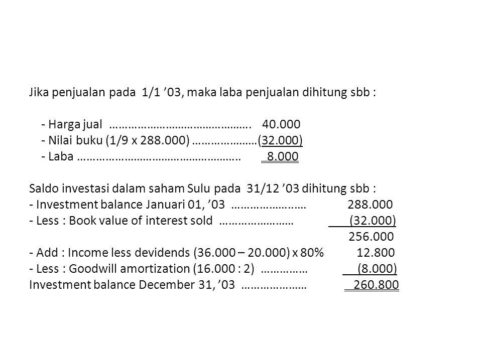Jika penjualan pada 1/1 '03, maka laba penjualan dihitung sbb : - Harga jual ………………………………………. 40.000 - Nilai buku (1/9 x 288.000) …………………(32.000) - La