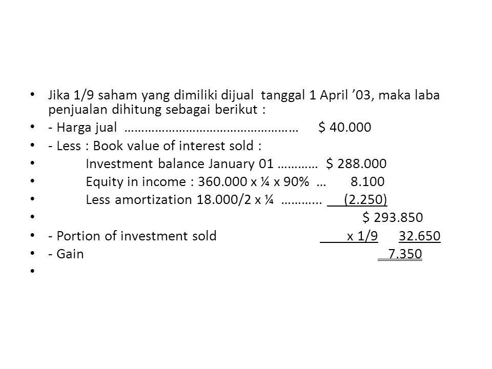 Jika 1/9 saham yang dimiliki dijual tanggal 1 April '03, maka laba penjualan dihitung sebagai berikut : - Harga jual …………………………………………… $ 40.000 - Less