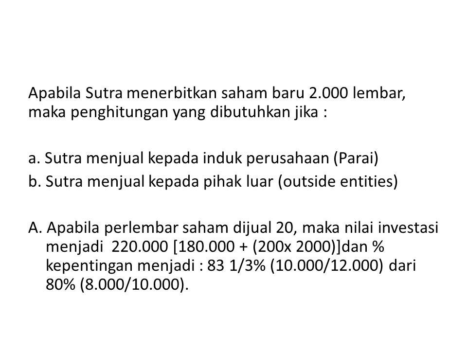 Apabila Sutra menerbitkan saham baru 2.000 lembar, maka penghitungan yang dibutuhkan jika : a. Sutra menjual kepada induk perusahaan (Parai) b. Sutra