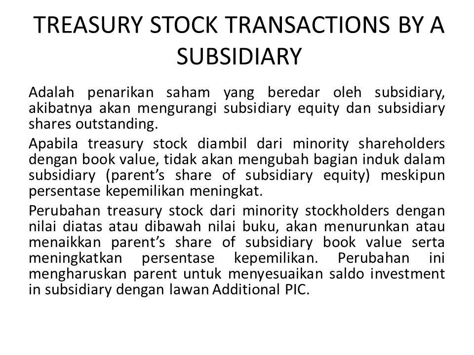 TREASURY STOCK TRANSACTIONS BY A SUBSIDIARY Adalah penarikan saham yang beredar oleh subsidiary, akibatnya akan mengurangi subsidiary equity dan subsi