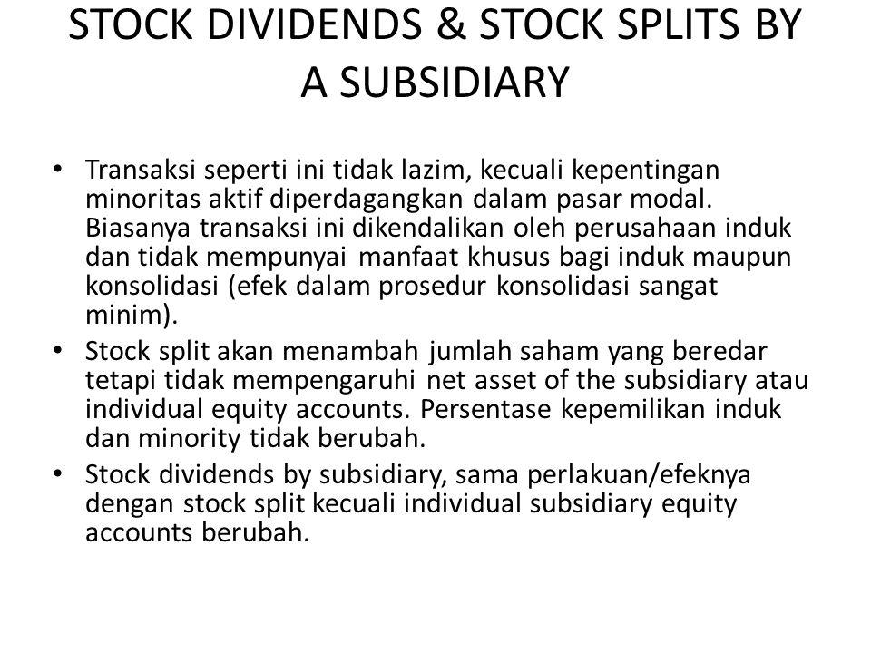STOCK DIVIDENDS & STOCK SPLITS BY A SUBSIDIARY Transaksi seperti ini tidak lazim, kecuali kepentingan minoritas aktif diperdagangkan dalam pasar modal