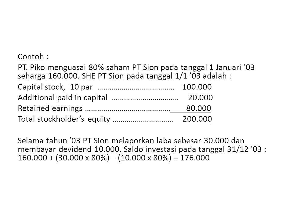 Contoh : PT. Piko menguasai 80% saham PT Sion pada tanggal 1 Januari '03 seharga 160.000. SHE PT Sion pada tanggal 1/1 '03 adalah : Capital stock, 10