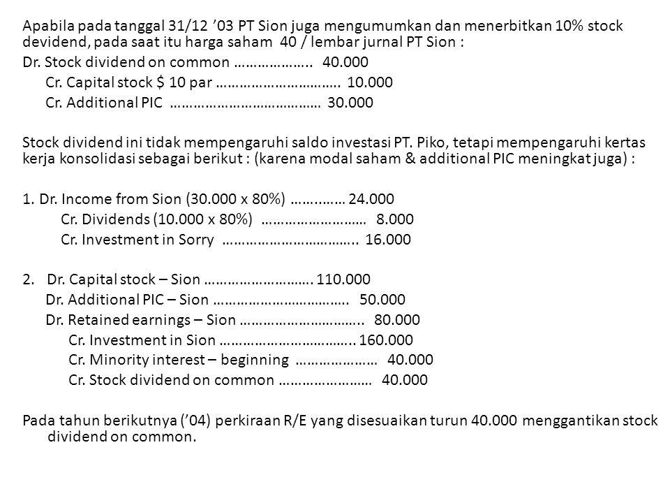 Apabila pada tanggal 31/12 '03 PT Sion juga mengumumkan dan menerbitkan 10% stock devidend, pada saat itu harga saham 40 / lembar jurnal PT Sion : Dr.