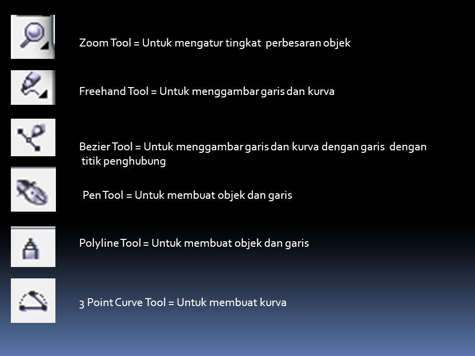 Zoom Tool = Untuk mengatur tingkat perbesaran objek Freehand Tool = Untuk menggambar garis dan kurva Bezier Tool = Untuk menggambar garis dan kurva de