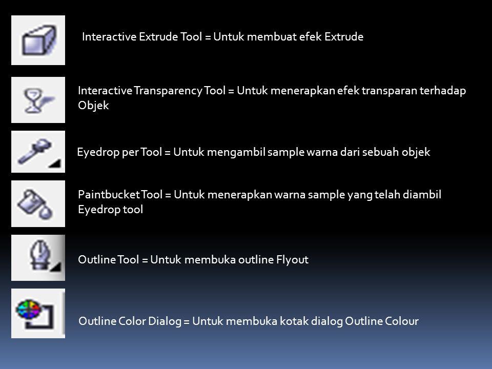 Interactive Extrude Tool = Untuk membuat efek Extrude Interactive Transparency Tool = Untuk menerapkan efek transparan terhadap Objek Eyedrop per Tool