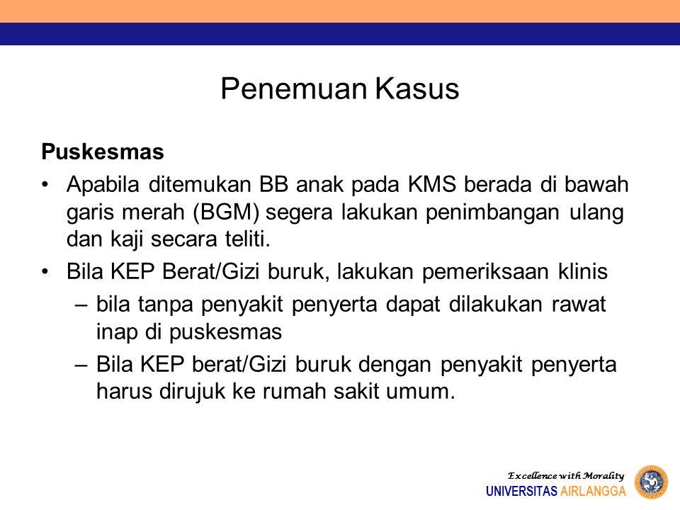 Penemuan Kasus Puskesmas Apabila ditemukan BB anak pada KMS berada di bawah garis merah (BGM) segera lakukan penimbangan ulang dan kaji secara teliti.