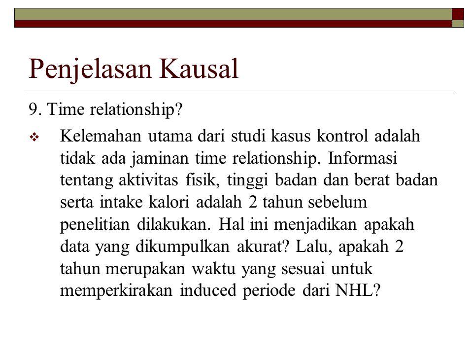 Penjelasan Kausal 9. Time relationship?  Kelemahan utama dari studi kasus kontrol adalah tidak ada jaminan time relationship. Informasi tentang aktiv