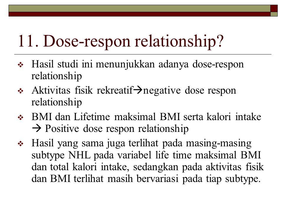 11. Dose-respon relationship?  Hasil studi ini menunjukkan adanya dose-respon relationship  Aktivitas fisik rekreatif  negative dose respon relatio