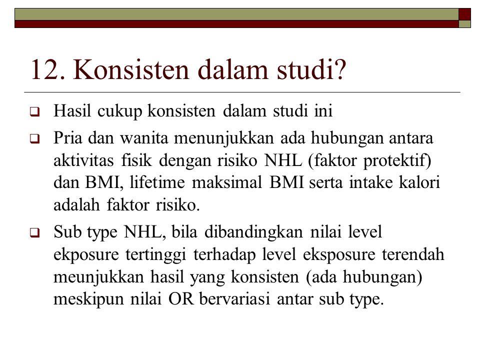 12. Konsisten dalam studi?  Hasil cukup konsisten dalam studi ini  Pria dan wanita menunjukkan ada hubungan antara aktivitas fisik dengan risiko NHL