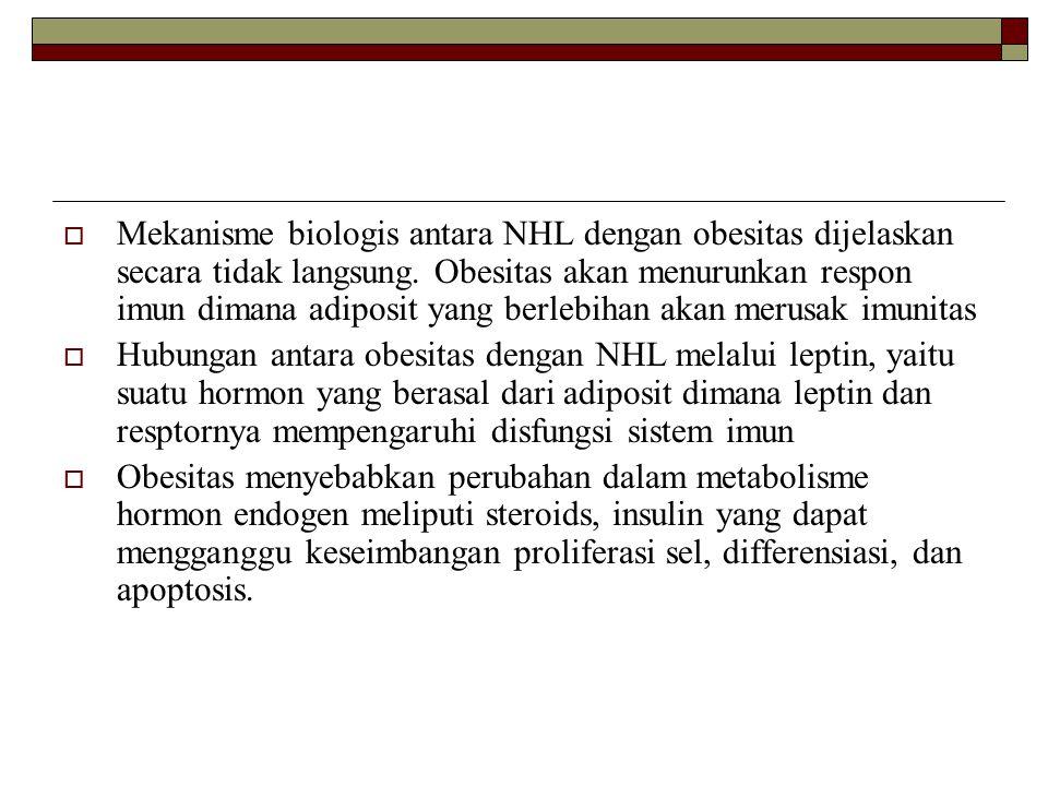  Mekanisme biologis antara NHL dengan obesitas dijelaskan secara tidak langsung. Obesitas akan menurunkan respon imun dimana adiposit yang berlebihan
