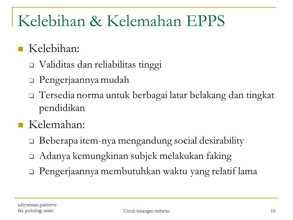 Validitas & Reliabiltas EPPS memiliki validitas eksternal yang tinggi berdasarkan korelasinya dengan Guilford Martin Personal Inventory dan Taylor Man