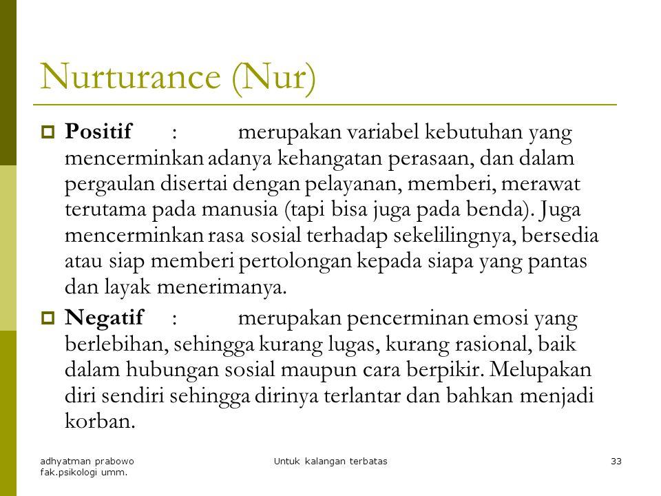 Abasement (Aba)  Positif :keinginan untuk merendahkan diri dengan maksud mendukung keinginan untuk menyesuaikan diri, kompromi, terlihat ada tolerans