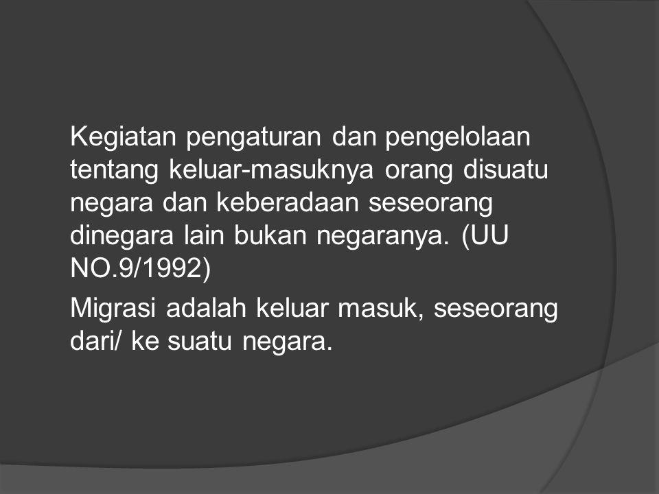 Kegiatan pengaturan dan pengelolaan tentang keluar-masuknya orang disuatu negara dan keberadaan seseorang dinegara lain bukan negaranya. (UU NO.9/1992