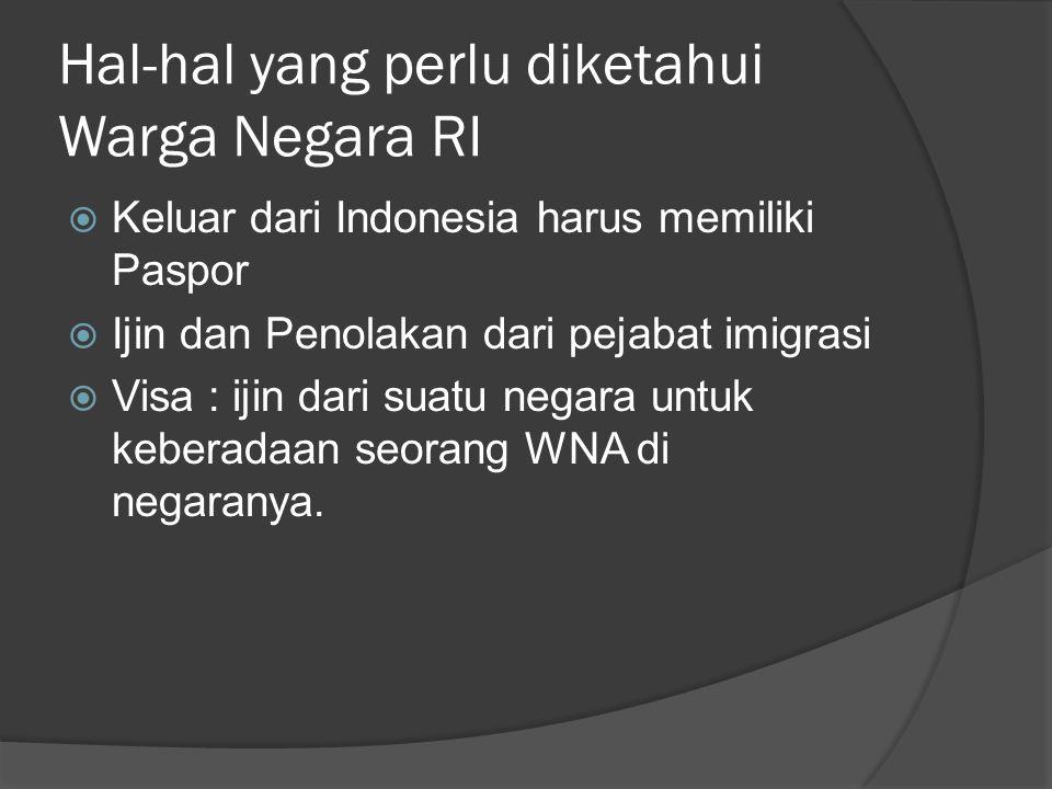 Hal-hal yang perlu diketahui Warga Negara RI  Keluar dari Indonesia harus memiliki Paspor  Ijin dan Penolakan dari pejabat imigrasi  Visa : ijin da
