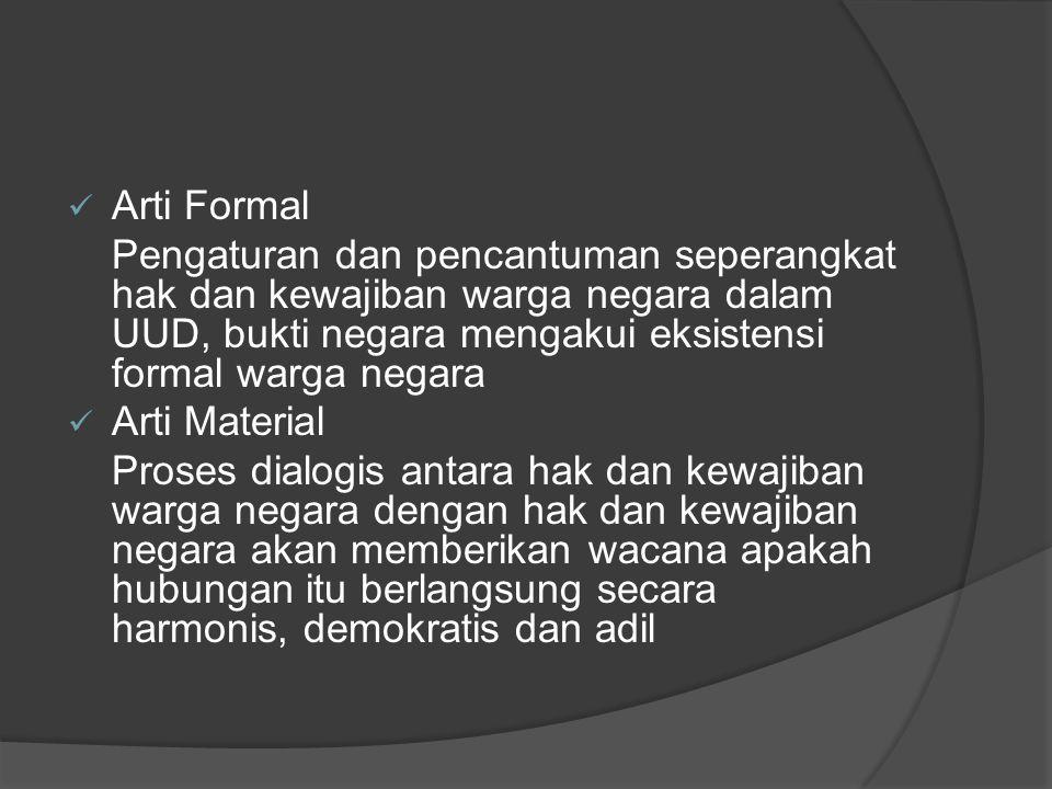 Arti Formal Pengaturan dan pencantuman seperangkat hak dan kewajiban warga negara dalam UUD, bukti negara mengakui eksistensi formal warga negara Arti