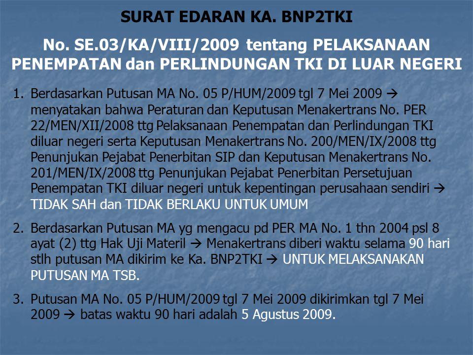 30 KEPUTUSAN MAHKAMAH AGUNG NO 05 P/HUM/2009 30 Menyatakan PERMEN 22 tahun 2008 Tidak Sah dan Tidak berlaku untuk umum Menyatakan KEPMEN 200 tahun 200
