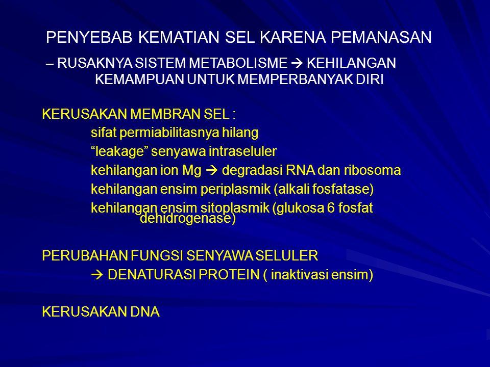 FAKTOR-FAKTOR YANG MEMPENGARUHI KETAHANAN PANAS BAKTERI Sifat yang melekat pada individu sel Kondisi pertumbuhan SuhuMedium Recovery medium (minimal or enriched medium) Lingkungan selama pemanasan Kompoisis makanan Bentuk pangan (padat, cairan) Aktivitas air Ukuran bahan yang dipanaskan pH bahan  Low Acid food (pH above 4.6) didasarkan pada ketidakmampuan C.