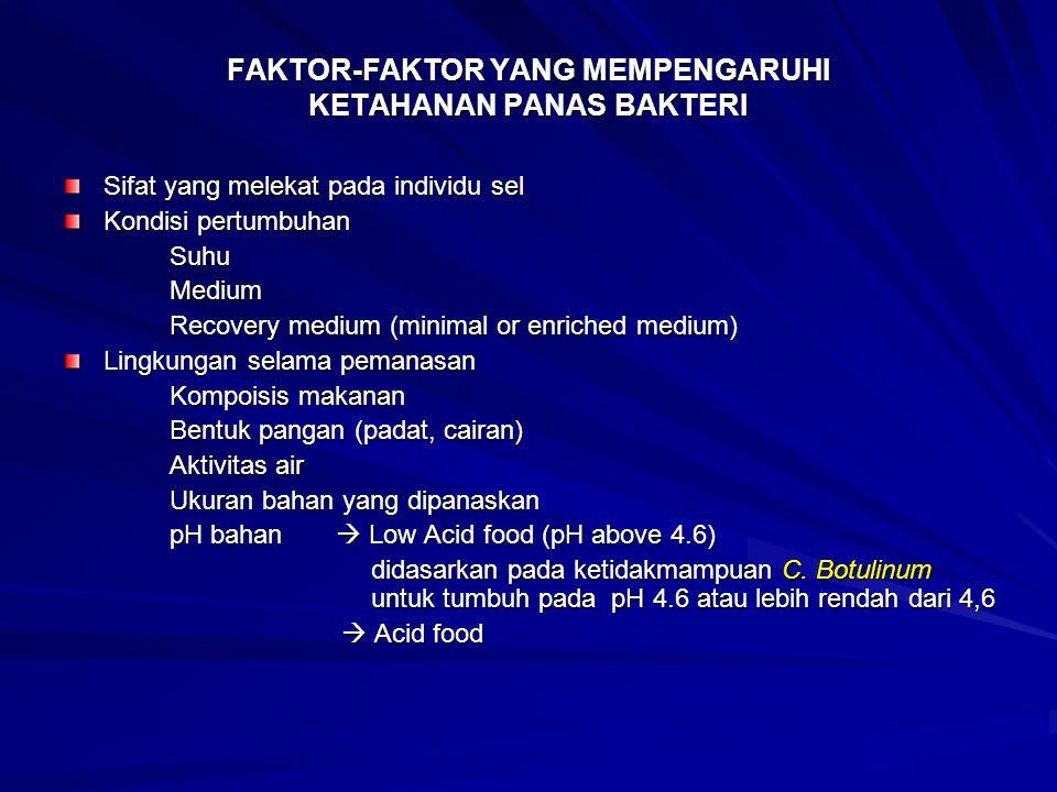 FAKTOR-FAKTOR YANG MEMPENGARUHI KETAHANAN PANAS BAKTERI Sifat yang melekat pada individu sel Kondisi pertumbuhan SuhuMedium Recovery medium (minimal o