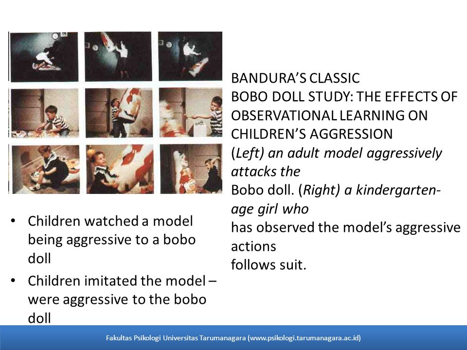 Children watched a model being aggressive to a bobo doll Children imitated the model – were aggressive to the bobo doll BANDURA'S CLASSIC BOBO DOLL STUDY: THE EFFECTS OF OBSERVATIONAL LEARNING ON CHILDREN'S AGGRESSION (Left) an adult model aggressively attacks the Bobo doll.