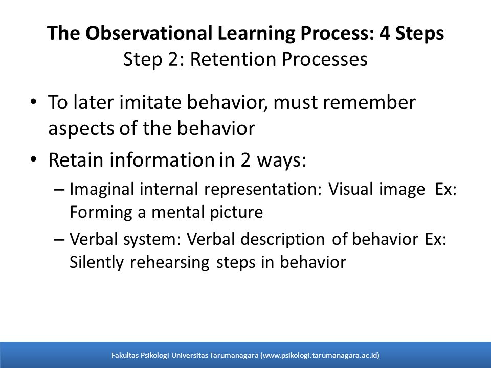 The Observational Learning Process: 4 Steps Step 2: Retention Processes To later imitate behavior, must remember aspects of the behavior Retain information in 2 ways: – Imaginal internal representation: Visual image Ex: Forming a mental picture – Verbal system: Verbal description of behavior Ex: Silently rehearsing steps in behavior Fakultas Psikologi Universitas Tarumanagara (www.psikologi.tarumanagara.ac.id)