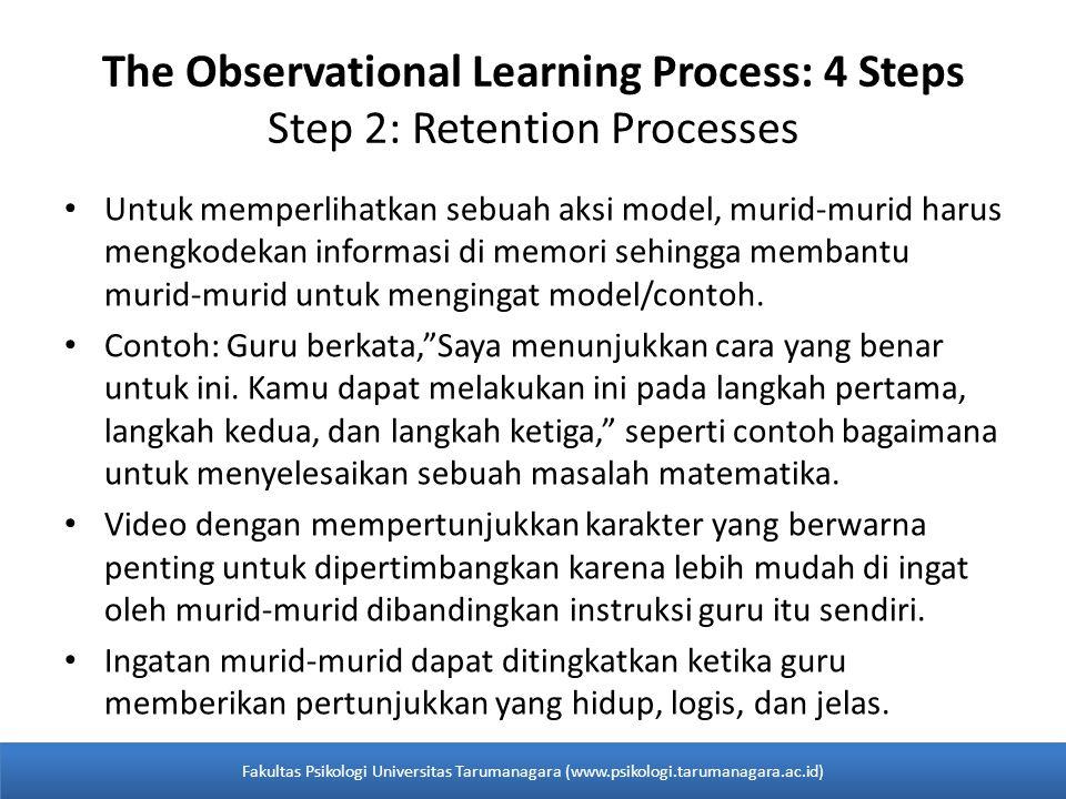 Untuk memperlihatkan sebuah aksi model, murid-murid harus mengkodekan informasi di memori sehingga membantu murid-murid untuk mengingat model/contoh.