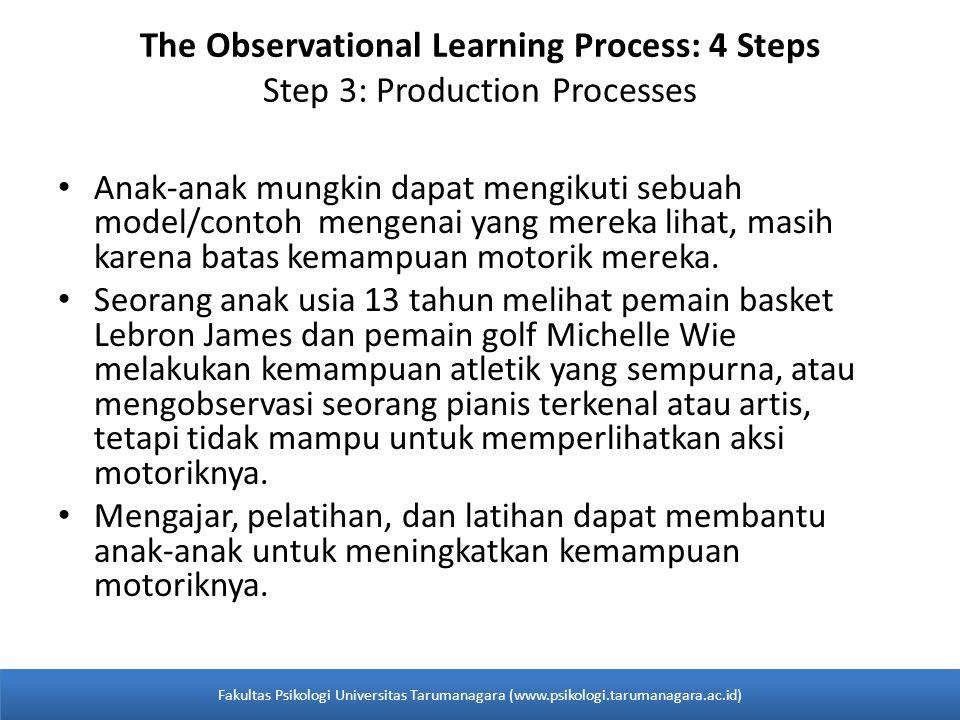 The Observational Learning Process: 4 Steps Step 3: Production Processes Anak-anak mungkin dapat mengikuti sebuah model/contoh mengenai yang mereka li