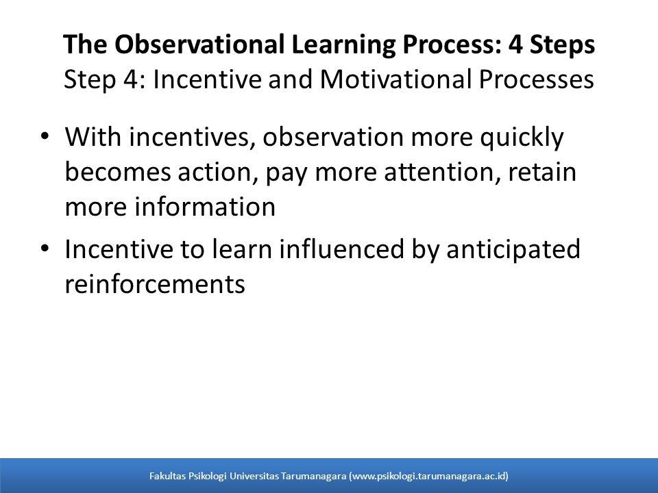 The Observational Learning Process: 4 Steps Step 4: Incentive and Motivational Processes With incentives, observation more quickly becomes action, pay more attention, retain more information Incentive to learn influenced by anticipated reinforcements Fakultas Psikologi Universitas Tarumanagara (www.psikologi.tarumanagara.ac.id)